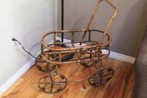 Wicker doll carriage planter