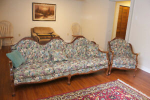 Antique Victorian Tapestry Sofa and Chair