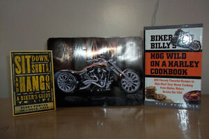 HD cookbook and motorcycle tin