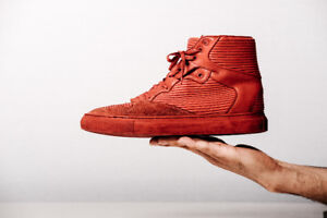 Balenciaga Paris | Pleated Leather Suede High Top Red Sneakers