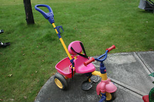 parent push tricycle and car, wagon