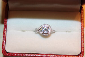 Size 6, Engagement Ring, 18K White Gold Over 925 Silver