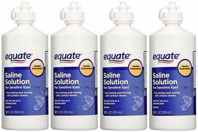 Contact Lens Saline Solution for Sensitive Eyes 12 oz EQUATE (4 Bottles)