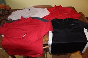 3 x northface shirts 1 x mec outdoor hiking baselayer shirts
