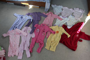 Lot of Girls Size 12M one piece pajamas, onsies and house coat