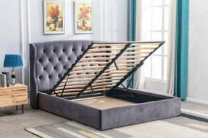 NEW ARRIVAL!! Jameica Queen/King Gas Lift Bed is available in charcoal