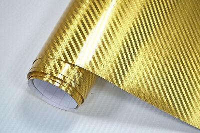 9,5€/m² Premium Chrom Carbon Folie 3D CARBON CHROM GOLD 1000 x 152cm Autofolie