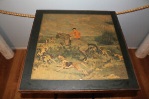 Antique Folding Table with Hunting Scene