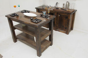 """48"""" x 30"""" Solid Wood Rustic Reclaimed Style Kitchen Island 1Left"""