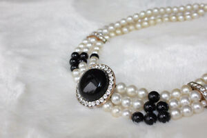Antique choker with rhinestones and faux pearls
