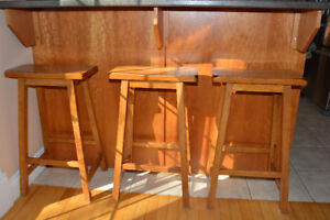 3 Bar Height saddle style wood stools
