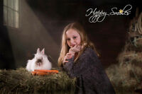 Children's photography session with BUNNIES! Happy Smiles Studio