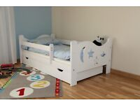 NEW Kids Toddler Bed Solid Wood With Mattress and Drawer WHITE COLOUR