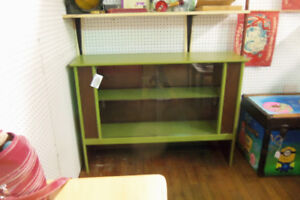 Vintage 1970's Cabinet with Glass Sliding Doors