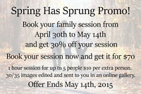 30% off Family Session till May 14th 2015