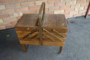 Vintage antique Knitting sewing table box