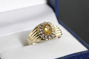 NEW STAMPED 10K. ITALIAN GOLD CITRINE & DIAMOND RING FOR SALE