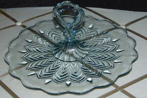 Blue Feather Pattern JEANNETTE GLASS Center Handle Tidbit tray