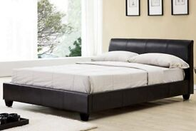 SUPERB BLACK OR BROWN FINISH! NEW DOUBLE LEATHER BED WITH MEMORY FOAM ORTHOPEDIC MATTRESS -