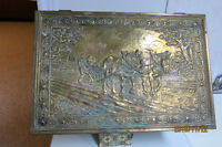 LARGE COPPER COVERED WOOD BOX WITH DETAILED SCENES