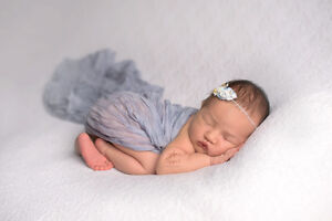 Newborn Photography Props Grey Blue Crinkle Wrap Texture Layer