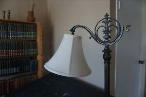 Floor lamp and shade antique brass steel good working condition