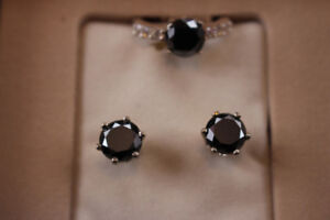 Certified Natural Black Diamonds Unique set ring & earrings