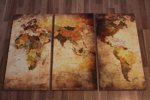 Tan Wold Map Panel Painting
