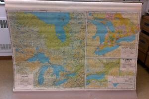 1970 Ontario school map 4'x6' -- great decor!