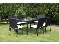 Job Lot of 10 Full Set Rattan Table and Chairs with Cushion Pads Wholesale 10PCS Minimum Order