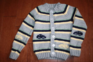 Handmade Button Up Sweater With Cars - 4T