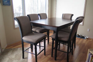 Pub Height Dining Table with 8 Chairs