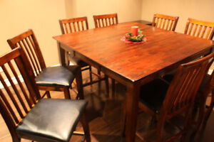 Counter height dining/kitchen table and 8 chairs