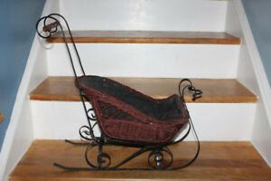 Antique Wicker and Wrought Iron Doll Sled