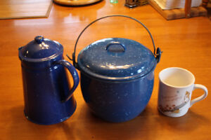 Blue Speckled Enamelware Coffee & Pot (Camping-Hiking Excellent)