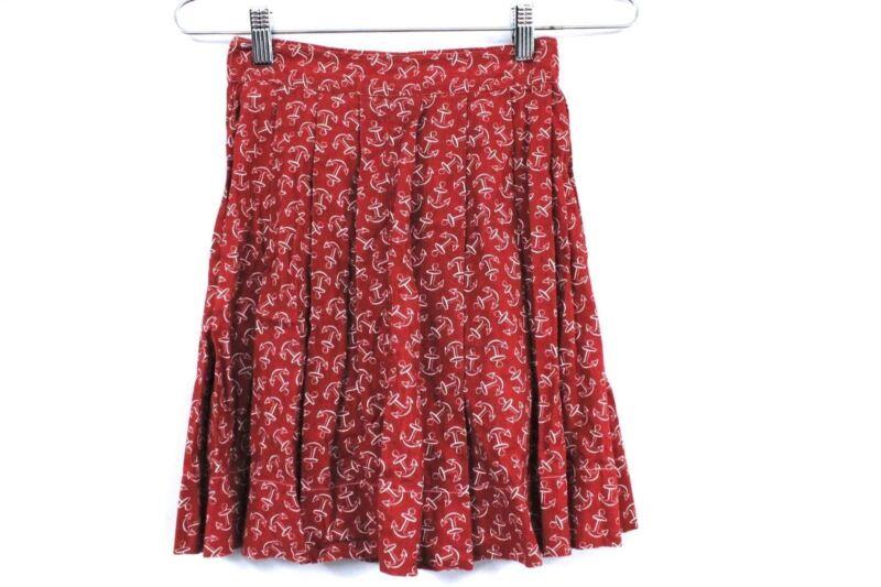 """VTG Girls Cotton Skirt 1940s Red & White Anchor Print Fantastic WW2  22"""" Waist"""