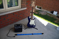 OSCAR SCHMIDT ELECTRIC GUITAR - SQUIRE AMP - STAND - STRAP