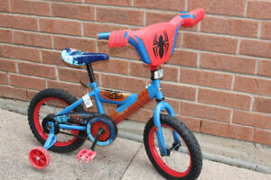 "BOYS 14"" BIKE SPIDERMAN WITH TRAINING WHEELS"