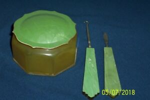 VINTAGE CELLULOID POWDER BOX PLUS 2 MATCHING PIECES