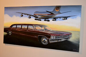 1965 CHEVY ARMBRUSTER LIMOUSINE & BOEING 747 IBERIA PAINTING