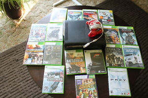 Xbox 360 elite with controller and 17 games