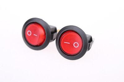 10pcs Red Light Illuminated On-off Spst Round Rocker Switch 6a250v 10a125v Ac