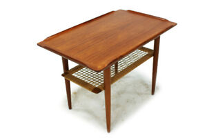 Mid Century Teak & Cane Coffee Table Made in Denmark