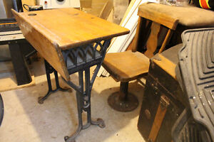 Antique Childs School desk and chair set