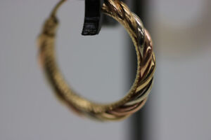 **WOW** Yellow, White and Rose Gold Hoop Earrings (#1974)