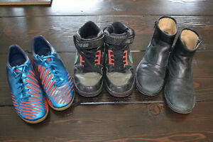 Lot of Boys Shoes, size 4, 3 prs, Soccer, Dress Boots, High Tops