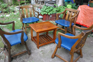Wood Stable Table with Four Heavy Wood Chairs Patio Set.