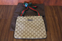 NEW BROWN RAREGUCCI MONOGRAM MESSENGER BAG WITH REG/GREEN STRAP