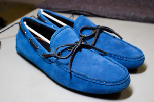 Coach Crosby Lace Driver Denim Blue Suede Loafers Mens SIZE 11.5
