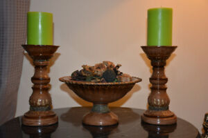 a pair of wood candle holders & wood stand tray for Potpourri